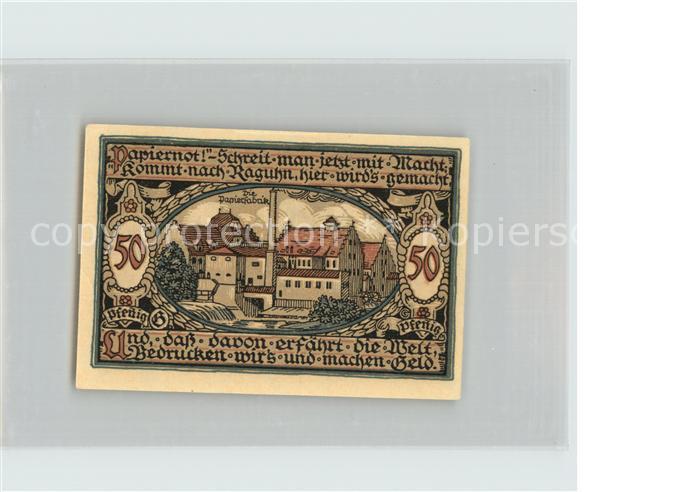 Raguhn 50 Pfennig Notgeld Papierfabrik Burg Kat. Raguhn