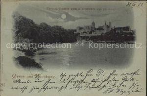 Bernburg Saale Herzogliches Schloss Blick vom Kesselbusch Mondschein Kat. Bernburg