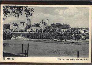 Bernburg Saale Blick auf das Schloss von der Saale Kat. Bernburg