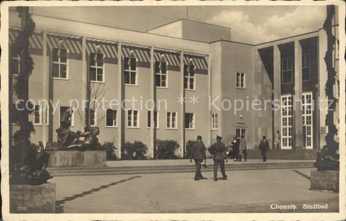 Alte postkarte chemnitz stadtbad bad bath bauhaus stil architekt fred otto architecture - Architekt chemnitz ...