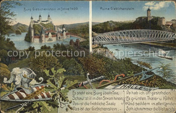 Giebichenstein Halle Saale Burg Ruine Giebichenstein Gedicht Es steht eine Burg ueberm Tale Kat. Halle