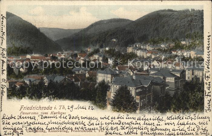 Friedrichroda Panorama vom Kurhaus Kat. Friedrichroda