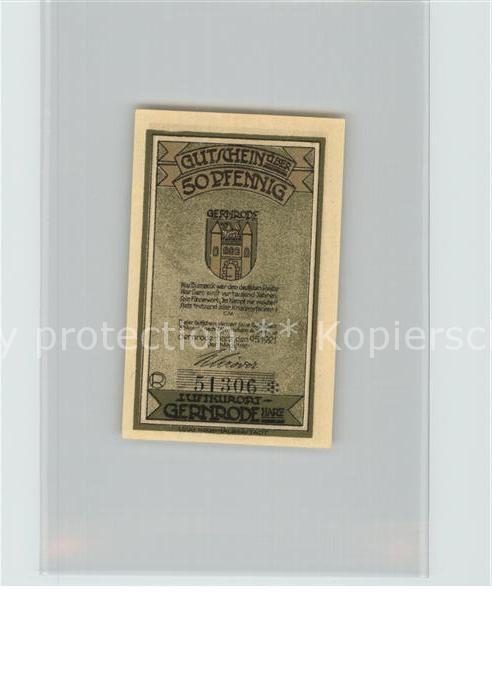 Notgeld Gernrode 1921 50 Pfennig Wappen Ritter Nr 6379302