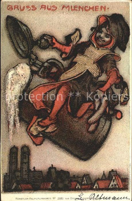 Muenchner Kindl Muenchen Bierkrug Kuenstler Heliocolorkarte Nr. 2880 Ottmar Zieher  Kat. Muenchen