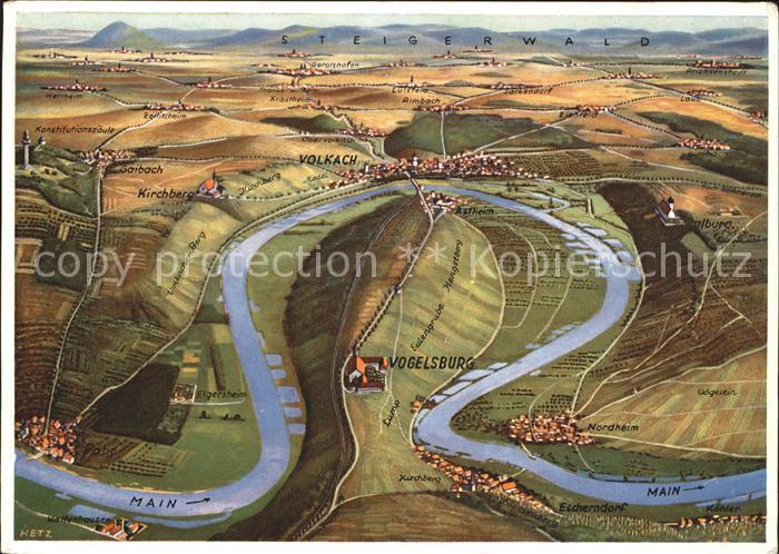 Vogelsburg Volkach Panoramakarte Volkach Steigerwald Kirchberg Kat. Volkach