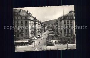 Geneve GE Rue du Mont Blanc et le Mont Blanc Tram Kat. Geneve