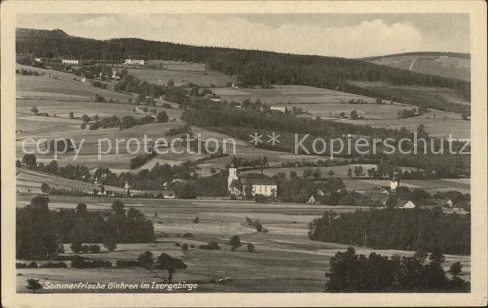 Giehren Isergebirge Panorama Kat. Tschechische Republik