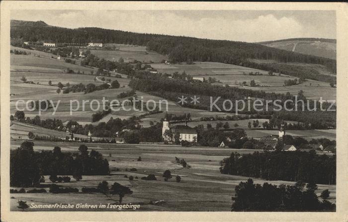 Giehren Isergebirge Ortsansicht Kat. Tschechische Republik