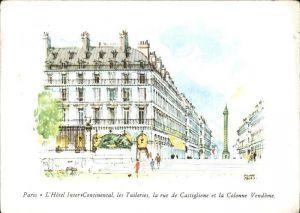 Paris Hotel Inter Continental les Tuileries la rue de Castiglione et la Colonne Vendome Kat. Paris