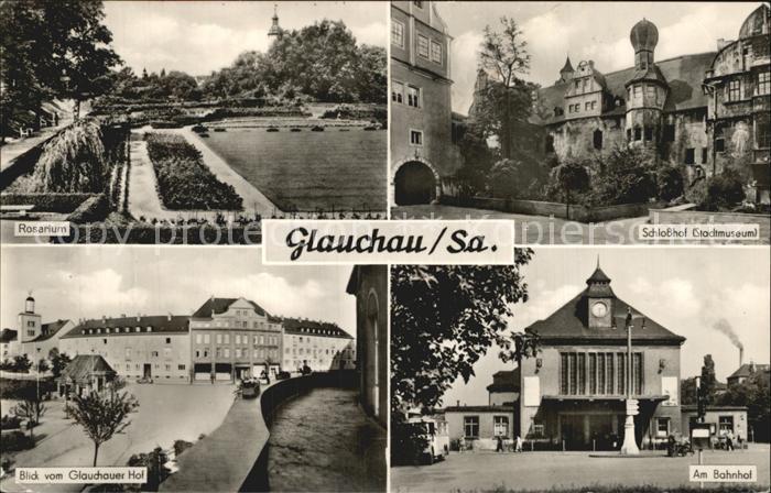 Glauchau Rosarium Schlosshotel Glauchauer Hof Bahnhof Kat. Glauchau