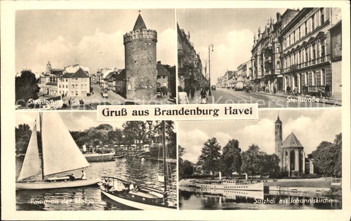 Brandenburg Havel Steintorturm Steinstrasse Partie an der Melge Salzhof mit Johanniskirche Kat. Brandenburg