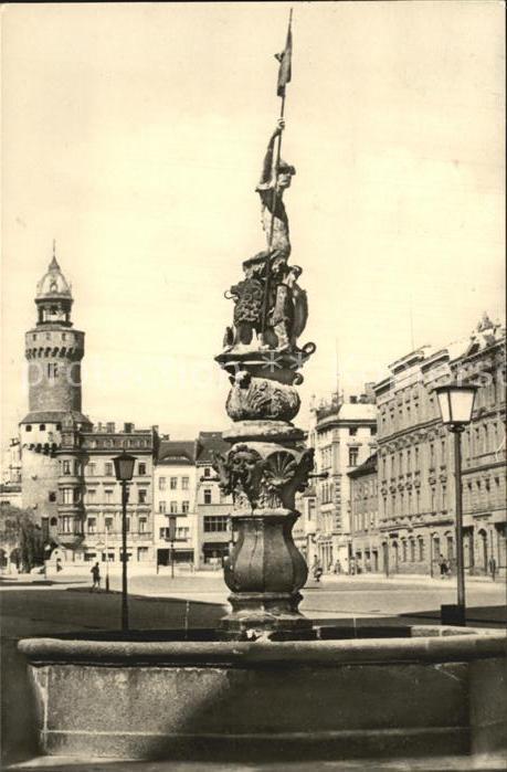Goerlitz Sachsen Leninplatz mit Georgsbrunnen und Reichenbacher Turm Kat. Goerlitz