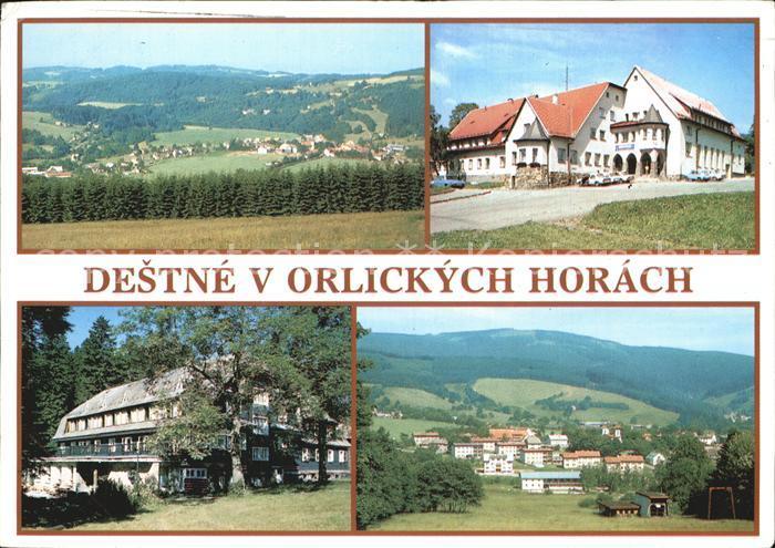 Destne v orlickych Horach Celkovy pohled Hotel Narodni dum Hotel Serlissky mlyn Castecny pohled Kat. Orlicke Hory