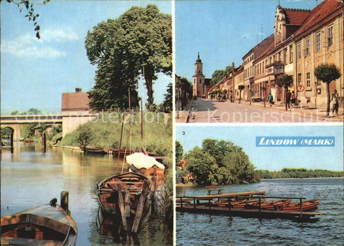 Lindow Mark Am Kanal Strasse des Friedens Wutzsee Bootssteg Kat. Lindow Mark