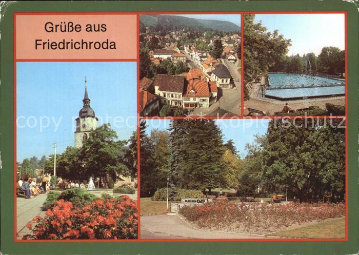 Friedrichroda Teilansicht Blick vom Kirchturm Waldbad Platz der Opfer des Faschismus Kat. Friedrichroda