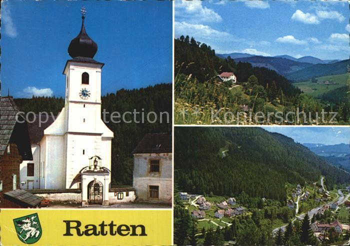 Ratten Kirche Landschaft Panorama Kat. Ratten