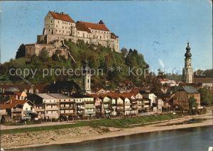 Burghausen Salzach Ortsansicht mit Kirche und Burg Kat. Burghausen
