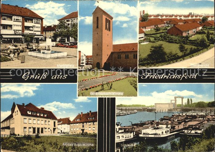 Friedrichsfeld Niederrhein Marktplatz St Elisabeth Kirche Schleuse Kat. Voerde (Niederrhein)