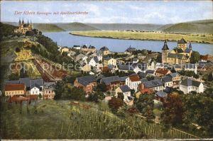 Remagen Rhein mit Apollinariskirche Kat. Remagen