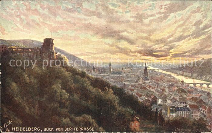Heidelberg Neckar Blick von der Terrasse  Kat. Heidelberg