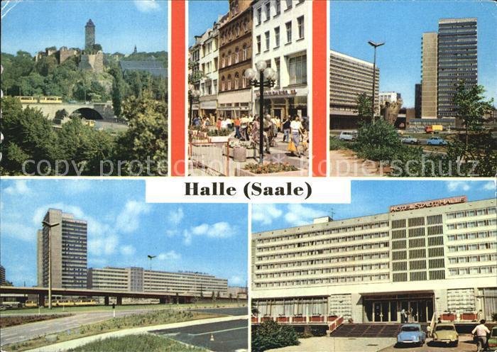 Halle Saale Burg Giebichenstein Klement Gottwald Str Thaelmannplatz Interhotel Stadt Halle Kat. Halle