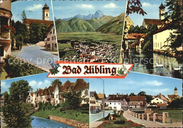 Bad Aibling Kirche Total Schwanenteich Kanal Strassenpartie Kat. Bad Aibling