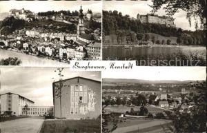 Burghausen Salzach Teilansichten Schloss Kirche Schule Kat. Burghausen