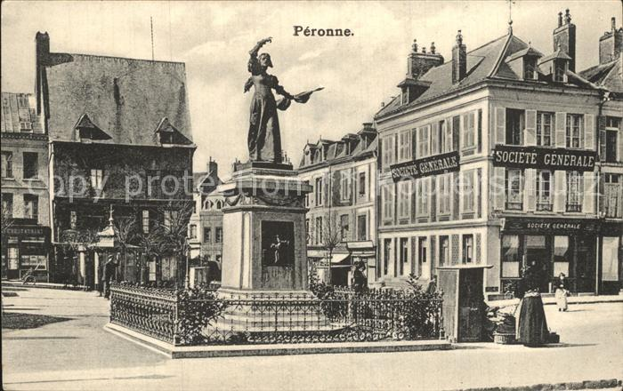 Peronne Somme Monument Denkmal Statue Kat. Peronne