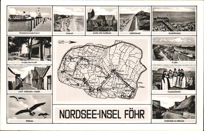 Insel Foehr Dampferanlegestelle Strand Kirche Nieblum Carl Haeberlin Str Hafen Friesentracht Dorfstrasse Oldsum Inselkarte Kat. Wyk auf Foehr
