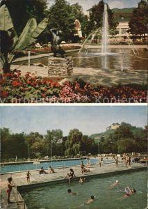 Bad Muenster Stein Ebernburg Kurpark mit Kurhaus Thermal Sole Freischwimmbad Kat. Bad Muenster am Stein Ebernburg