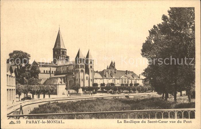 Paray le Monial Basilique du Sacre Coeur vue du Pont Kat. Paray le Monial