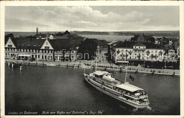 Lindau Bodensee Blick vom Hafen zum Bahnhof Bayerischer Hof Kat. Lindau (Bodensee)