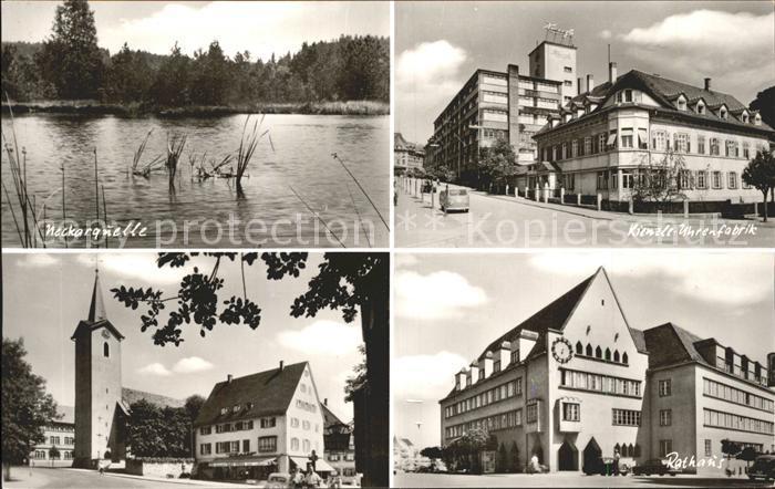 Schwenningen Neckar Neckarquelle Kienzle Uhrenfabrik Kirche Rathaus / Villingen-Schwenningen /Schwarzwald-Baar-Kreis LKR