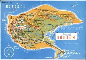 Borkum Nordseebad Landkarte der Insel Nordseebad / Borkum /Leer LKR