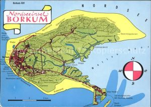 Borkum Nordseebad Landkarte Insel Nordseebad / Borkum /Leer LKR