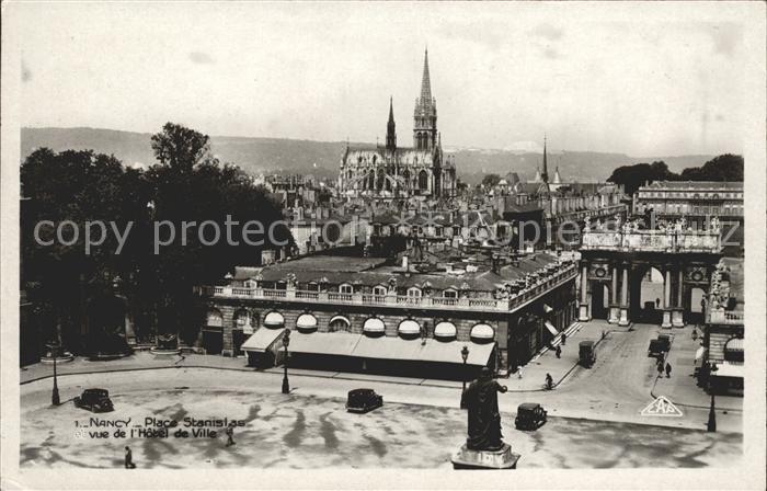 Nancy Lothringen Place Stanislas vue de l Hotel de Ville Eglise Kat. Nancy