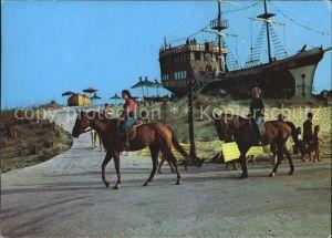 Slantschev Brjag Reiter Pferde Schiff / Bulgarien /