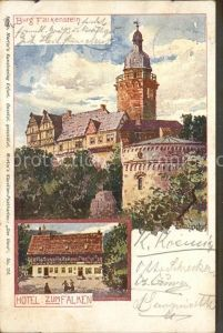 Harz Burg Falkenstein Hotel zum Falken Bahndorf Martins Kuenstlerkarte Kat.