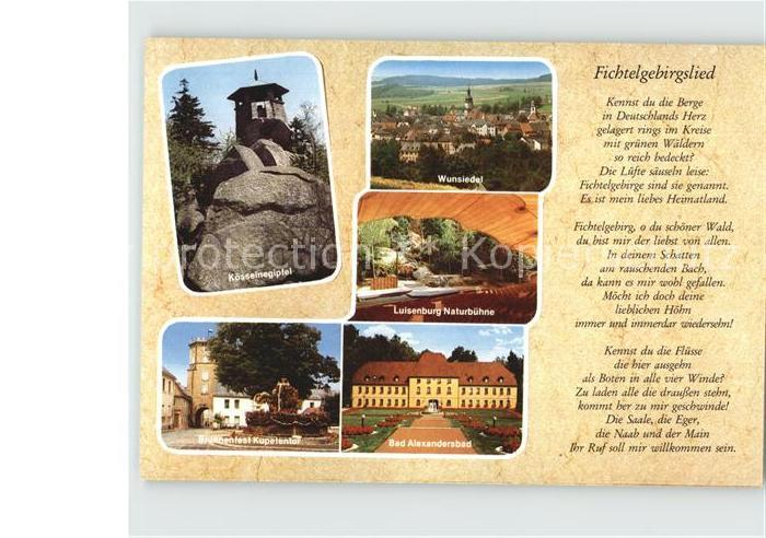 Fichtelgebirge Fichtelgeirgslied Koesseingipfel Luisenburg Bad Alexanderbad Kat.