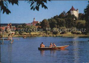Bad Clevers Badestrand am See Ruderboot Schloss Kirche