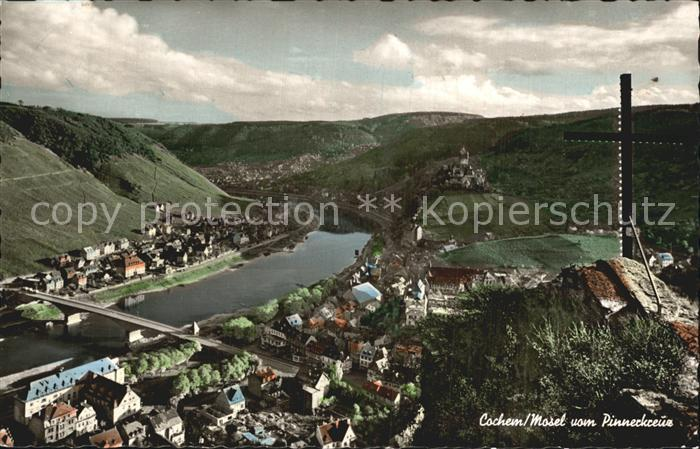 Cochem Mosel Panorama Blick vom Pinnerkreuz Kat. Cochem
