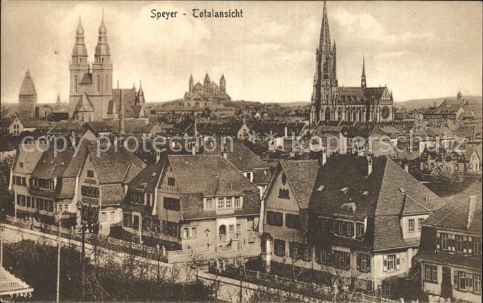 Speyer Rhein mit Kirchen Kat. Speyer