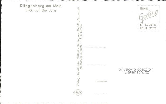 Klingenberg Main Strasse mit Burg Kat. Klingenberg a.Main 1