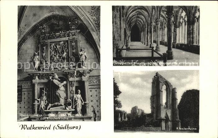 Walkenried Klosterkirche Denkmal des Grafen von Honstein Kreuzgang mit Grabplatz Klosterruine Kat. Walkenried