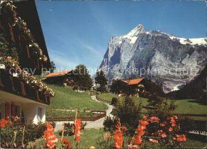 Grindelwald Dorfpartie mit Wetterhorn Kat. Grindelwald