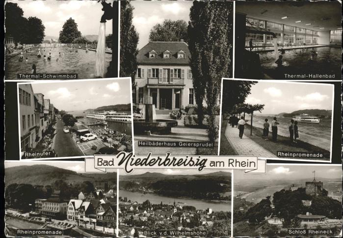 Bad Niederbreisig Thermalschwimmbad Heilbaederhaus Geiersprudel Rheinpromenade Schiff Schloss Rheineck Hallenbad Kat. Bad Breisig