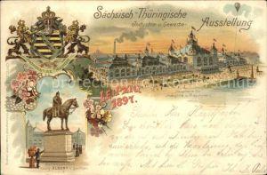 Ausstellung Industrie Gewerbe Leipzig 1897 Koenig Albert von Sachsen Denkmal Kat. Leipzig