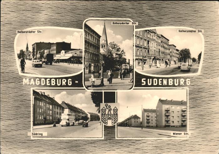 Sudenburg Halberstaedter Strasse Rottersdorfer Strasse Kirchturm Wiener Strasse Suedring Wappen