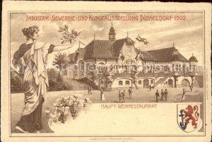 Ausstellung Industrie Gewerbe Kunst Duesseldorf 1902  Haupt Weinrestaurant Wappen  Kat. Duesseldorf