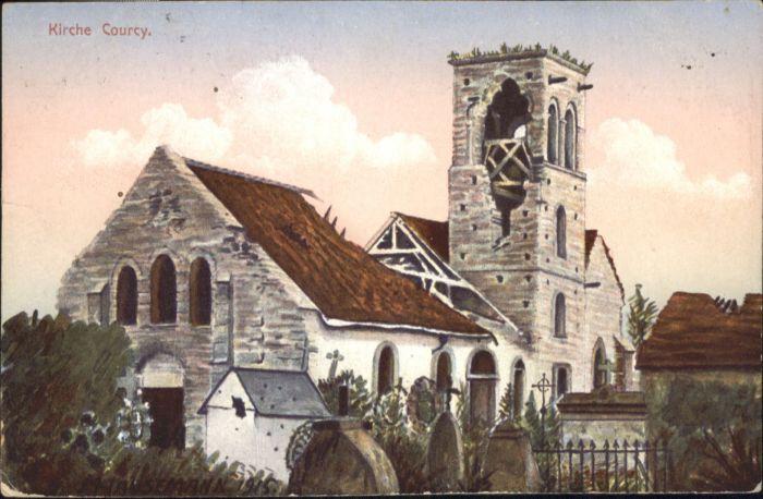 Courcy Marne Kirche Zerstoerung Kuenstlerkarte Hausemann x / Courcy /Arrond. de Reims
